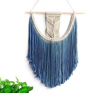 Dip Dyed Fringe Macrame-Crafted Bohemian Wall Art